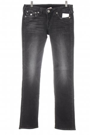 True Religion Straight-Leg Jeans anthrazit Destroy-Optik