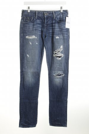 True Religion Straight-Leg Jeans blau Destroy-Optik