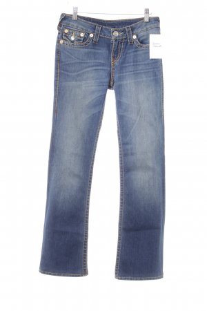 True Religion Straight-Leg Jeans blau-graublau Steppmuster Casual-Look