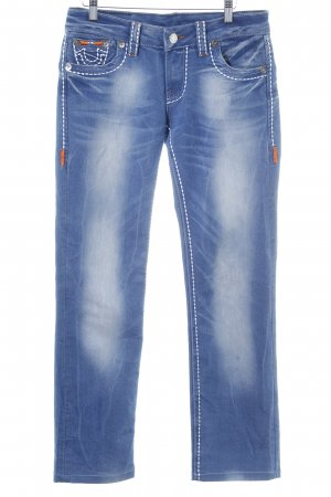 True Religion Straight-Leg Jeans blau meliert Casual-Look