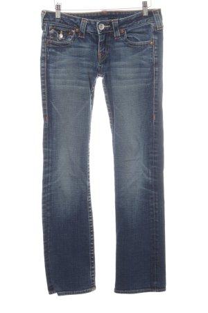 True Religion Straight-Leg Jeans blau Used-Optik