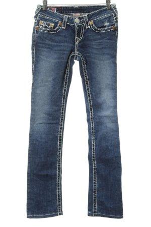 True Religion Straight-Leg Jeans blau-weiß schlichter Stil