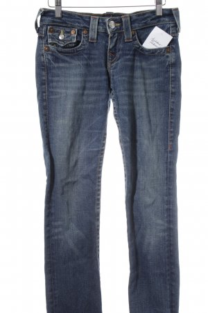 True Religion Straight-Leg Jeans blau-wollweiß Used-Optik