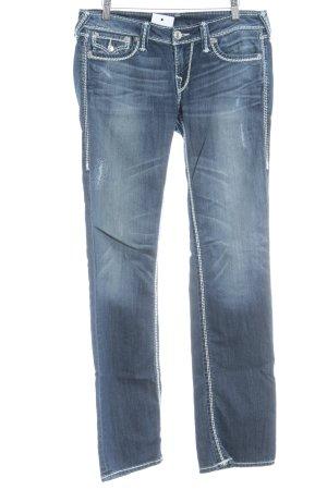 True Religion Straight-Leg Jeans dunkelblau Destroy-Optik