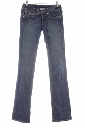 True Religion Straight-Leg Jeans dunkelblau Destroy-Optik