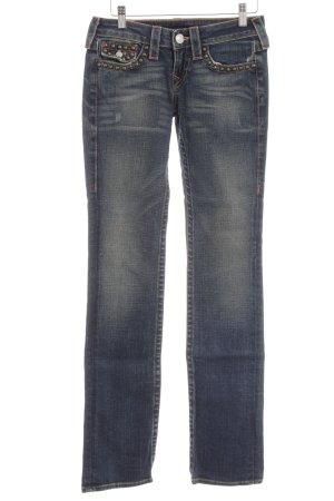 True Religion Straight-Leg Jeans dunkelblau-graublau Casual-Look