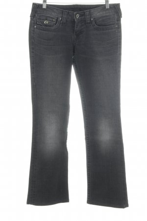 True Religion Straight-Leg Jeans dunkelgrau Bleached-Optik