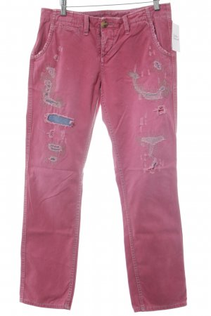 True Religion Straight-Leg Jeans himbeerrot-rosa Destroy-Optik