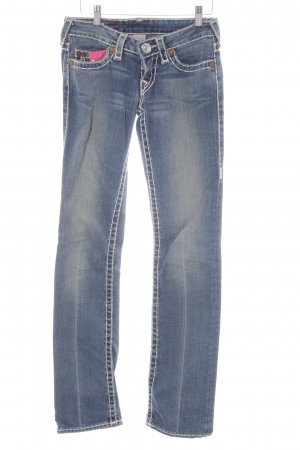 True Religion Straight-Leg Jeans kornblumenblau-weiß Casual-Look