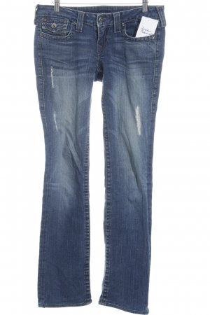 True Religion Straight-Leg Jeans stahlblau Destroy-Optik