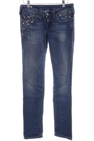 True Religion Straight-Leg Jeans stahlblau Destroy-Optik