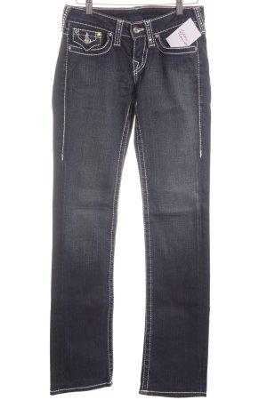 True Religion Straight-Leg Jeans weiß-dunkelblau extravaganter Stil