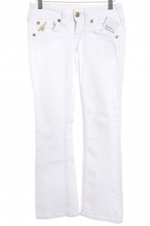 True Religion Straight-Leg Jeans weiß-goldfarben Motivdruck Casual-Look