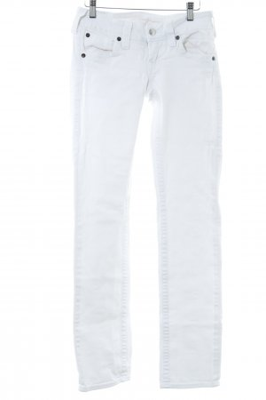 True Religion Straight-Leg Jeans wollweiß-silberfarben Logo-Applikation