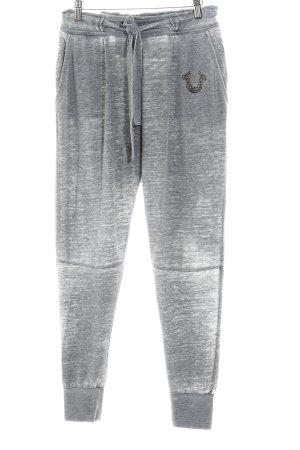 True Religion Pantalon de jogging gris-blanc cassé style déchiré