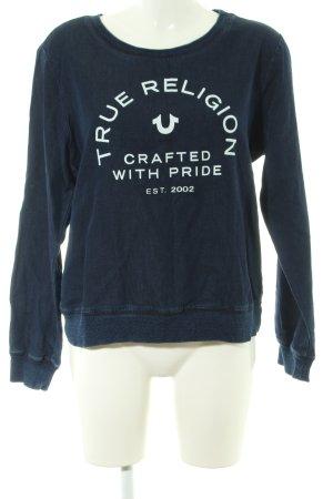 True Religion Sweatshirt blau-weiß Schriftzug gedruckt Casual-Look