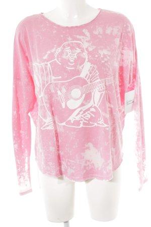 True Religion Suéter rosa estampado en partes look casual