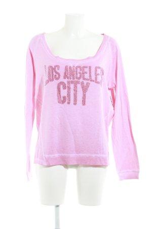 True Religion Sweatshirt rosa-magenta Schriftzug gedruckt Casual-Look