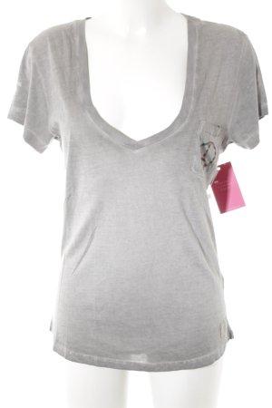 True Religion T-Shirt grau-hellgrau Biker-Look