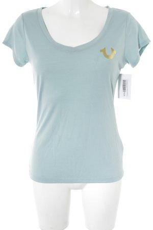 True Religion T-Shirt hellblau-goldfarben Schriftzug gedruckt
