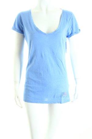 True Religion T-Shirt kornblumenblau Schriftzug gedruckt Casual-Look