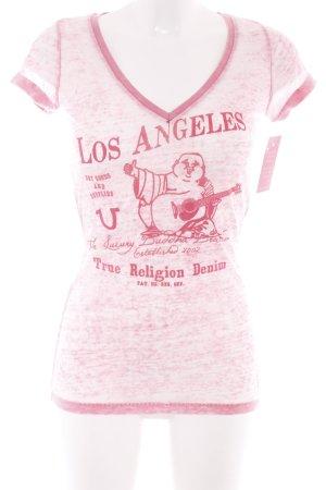 True Religion T-Shirt magenta-rosa Motivdruck Casual-Look