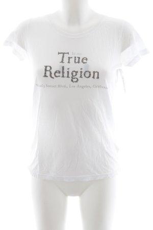 True Religion T-Shirt weiß-grau Schriftzug gedruckt Casual-Look