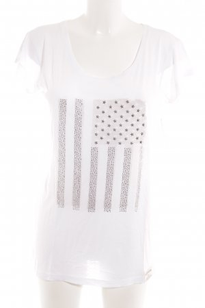 True Religion T-Shirt weiß-hellgrau Biker-Look
