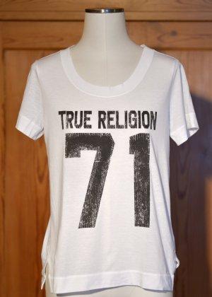 TRUE RELIGION T-Shirt Weiß Print 71 36 38 Kurzarm Etikett