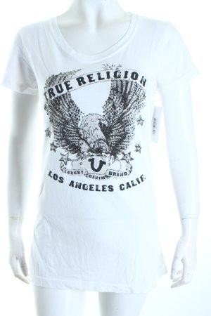 True Religion T-Shirt weiß-schwarz Motivdruck Casual-Look