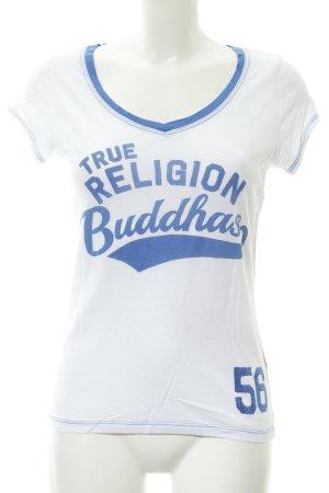 True Religion T-Shirt weiß-stahlblau Schriftzug gedruckt Casual-Look