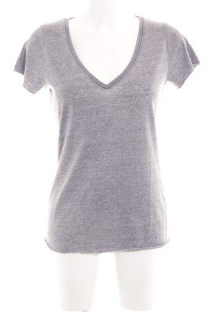 True Religion Camisa con cuello V gris estampado con diseño abstracto