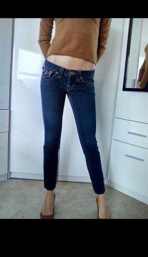 True Religion Pantalon cinq poches blanc cassé-bleu foncé