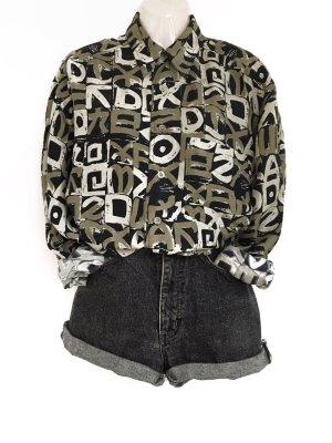 True Vintage 100% Seide / Silk Bluse Hemd Oversize Look Muster 90s Retro