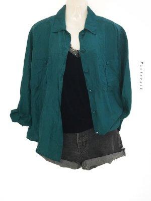 True Vintage 100% Seide Silk Bluse Hemd Seidenbluse Petrol Oversize Minimal