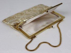 True Vintage 50er 60er Mini Bügel Tasche Goldfarben Gliederkette Clipverschluss Lurex Strass Clutch Abendtasche