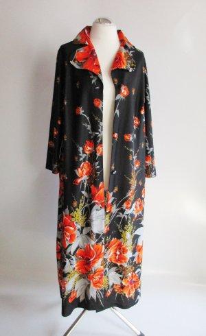 True Vintage 60er 70er Morgenmantel M 38 40 Kleid Mantel Schwarz Rot Mohnblumen Blüten großer Kragen Bademantel Morgenrock