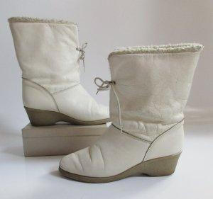 True Vintage 60er Winterstiefel Creme Weiß Größe 40 Gefüttert Kreppsohle AnkleBoots Wedges Twiggy warme Stiefel Schuhe