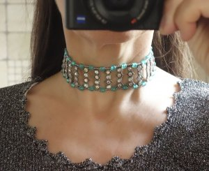 Collier Necklace turquoise-silver-colored glas