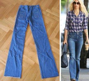 true vintage 70ies flared high waist jeans mit intrecciato Flechtdeteils