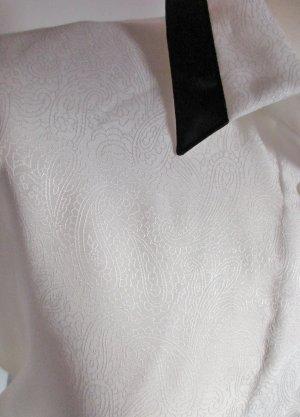 Vintage Blouse brillante blanc-noir tissu mixte