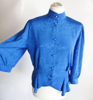 Vintage Stand-Up Collar Blouse blue polyester