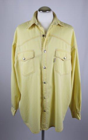 True Vintage 80er Hemd Bluse Feincord Fitt Größe M 38 Gelb Lässig Boyfriend