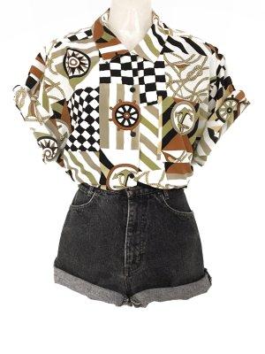 True Vintage 80er Jahre Maritim Anker Muster Hemd Bluse Kurzarm Hipster Oversize Style