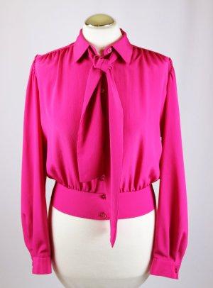 Vintage Blusa collo a cravatta rosa Poliestere