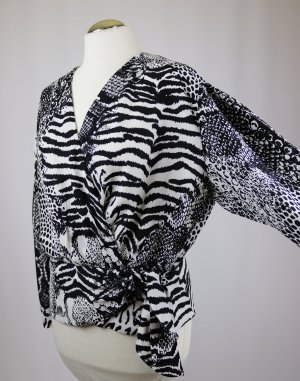 Vintage Wraparound Blouse black-white viscose