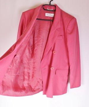 True Vintage 80er Strong Blazer Max Mara Größe M 38 Meliert Hummer Pink Doppelreiher Jacke Business Wolle Sommer