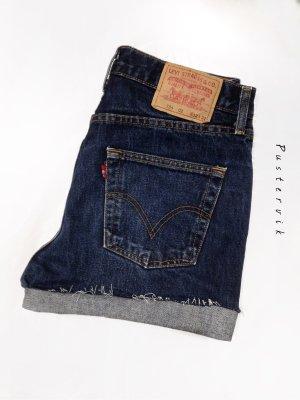 True Vintage 90er Levis Highwaist Shorts Ausgefranst Blau Hippie