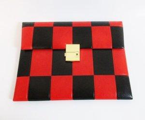 Vintage Borsa block notes nero-rosso Finta pelle