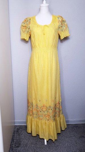True Vintage Betty Barclay Maxikleid, gelbes Maxikleid bestickt, Blumenstickerei